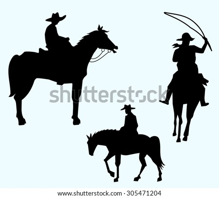 Cowboys Silhouette Set