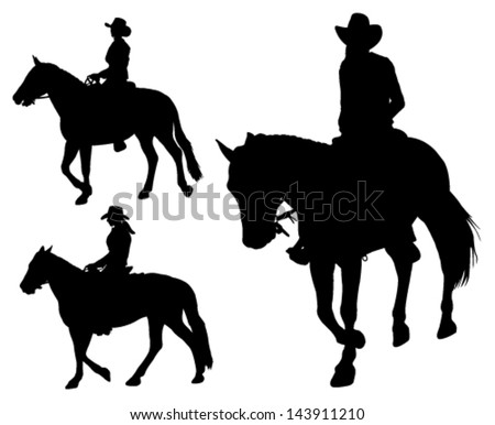 cowgirl riding horse silhouettes - stock vector