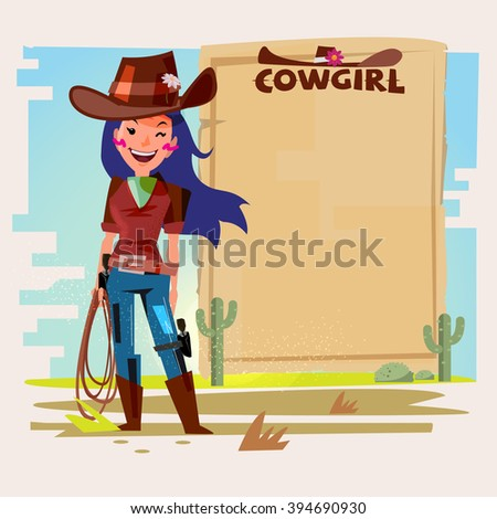 Cowgirl with Lasso with paper to presentation. wanted concept. character design with typographic - vector illustration - stock vector