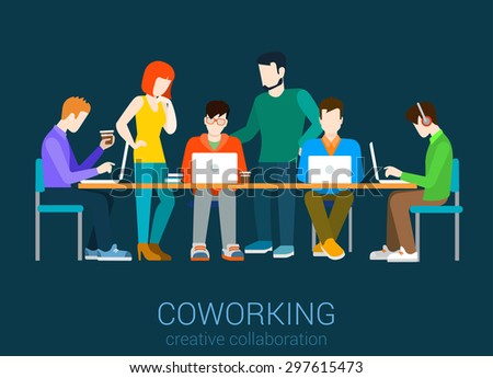 coworking flat web infographic concept vector co working group of people by the table - Collection Agent Jobs