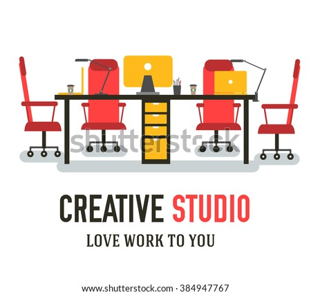 coworking office workplace for creative people vector illustration. Creative studio business environment elements background. Flat design with typography text