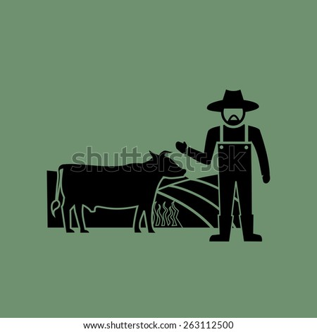 Cows farming icons.vector - stock vector