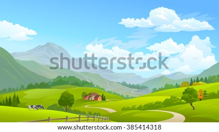 Cows grazing in green fields with huge mountains in the distance - stock vector