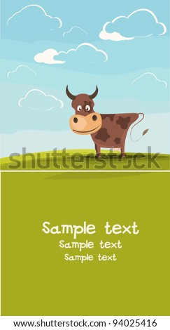 Cows grazing in the meadow. Available space for your text. - stock vector