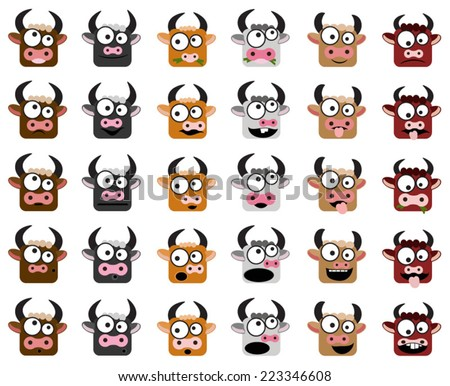cows vector icons