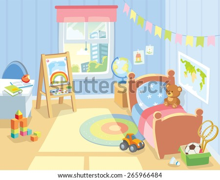 cozy children's bedroom interior with furniture and toys - stock vector