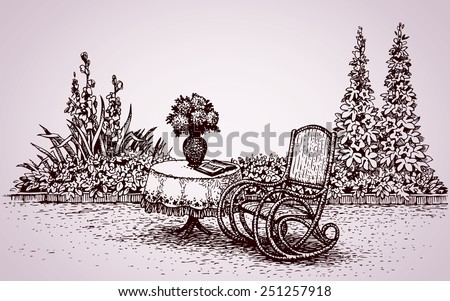 Cozy corner patio home: flower bed with gladioli, hollyhock and rocker at round desk with patterned tablecloth. Vector monochrome freehand ink drawn backdrop in style pen on paper with space for text - stock vector