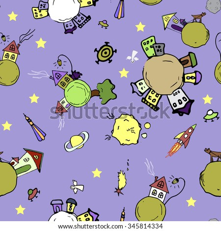 Cozy cosmic background with cute planets. Colorful variant. - stock vector