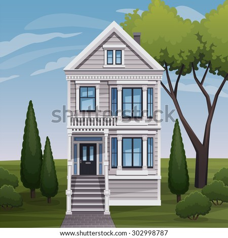 Cozy family house facade view. Vector illustration.