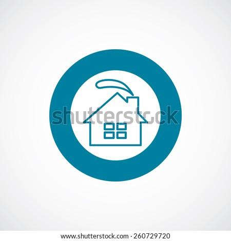 cozy home icon bold blue circle border, white background   - stock vector
