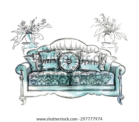 Cozy interior draw. Sofa. Ornate decor. Autotraced vector sketch, color. Interior decoration. Lineart. Watercolor. - stock vector