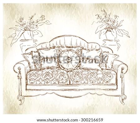 Cozy Interior Draw Sofa Ornate Decor Utotraced Vector Sketch Color