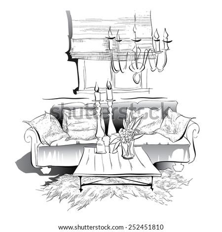 Cozy interior sketch - stock vector