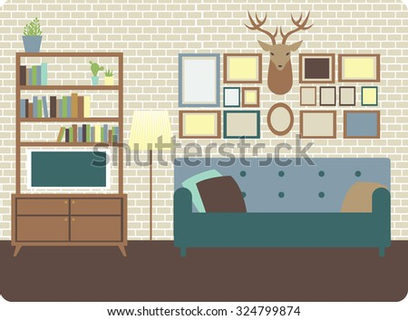 Cozy living room interior with loft style wall and decorations - stock vector
