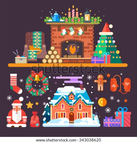 Cozy New year and Christmas set: fireplace with socks, firewood, Santa Claus, mittens, gingerbread man, presents, gifts. Flat vector stock illustration set.  - stock vector