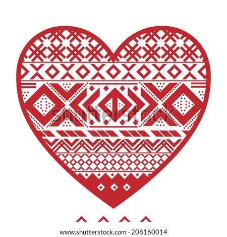 Cozy Nordic heart  (see through)  - stock vector