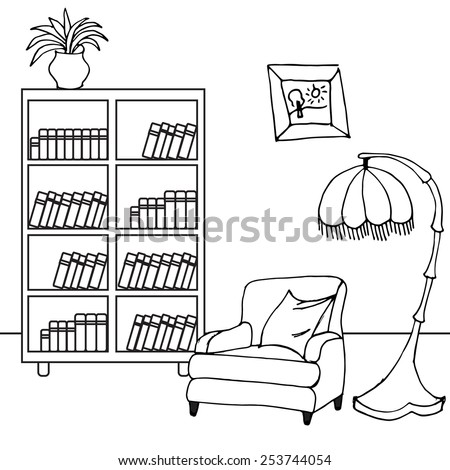 cozy room black and white - vector illustration - stock vector
