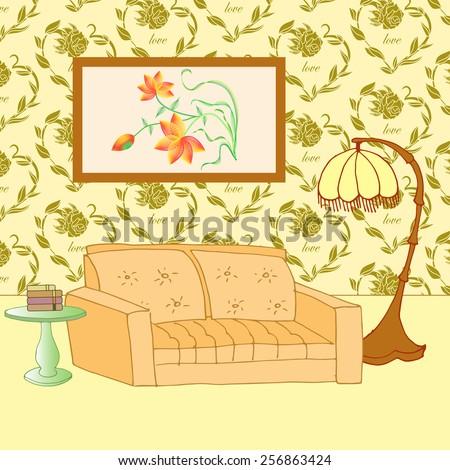 cozy room - stock vector - stock vector
