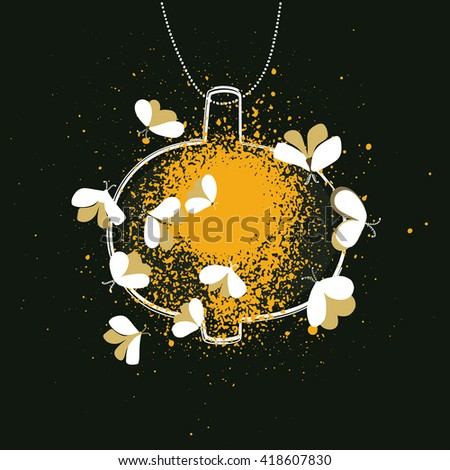 Cozy  vector illustration with butterflies in night. - stock vector