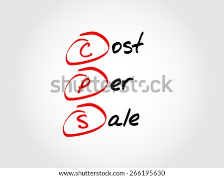 CPS - Cost Per Sale, acronym business concept  - stock vector