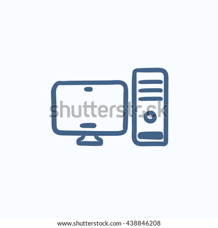 CPU and monitor vector sketch icon isolated on background. Hand drawn CPU and monitor icon. CPU and monitor sketch icon for infographic, website or app. - stock vector