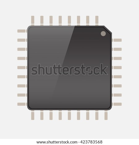 CPU (central processing unit) - Computer chip or microchip, Vector  illustration - stock vector