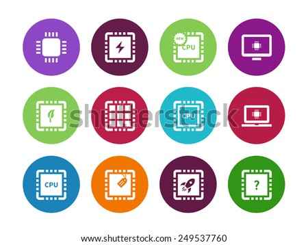 CPU, Central Processor Unit circle icons on white background. Vector illustration. - stock vector