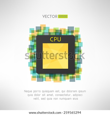 CPU chip icon on technological geometrical background. Vector illustration - stock vector