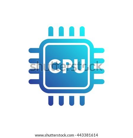 CPU icon, central processing unit, processor on white, vector illustration - stock vector