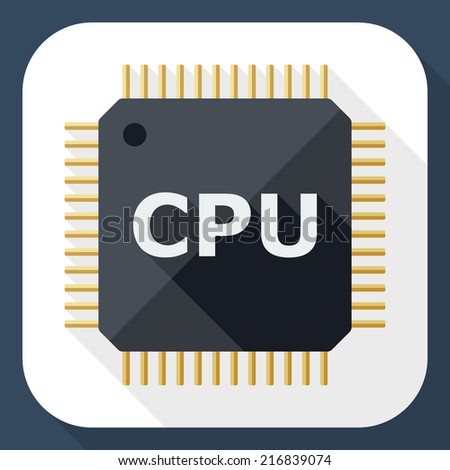 CPU icon with long shadow - stock vector