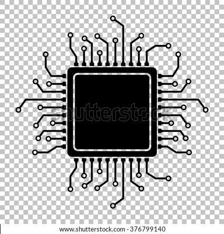 CPU Microprocesso. Flat style icon on transparent background - stock vector