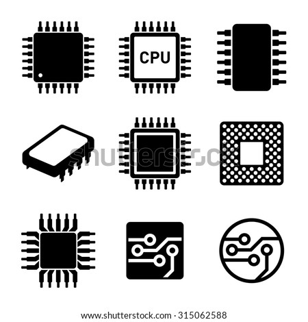 CPU Microprocessor and Chips Icons Set. Vector - stock vector