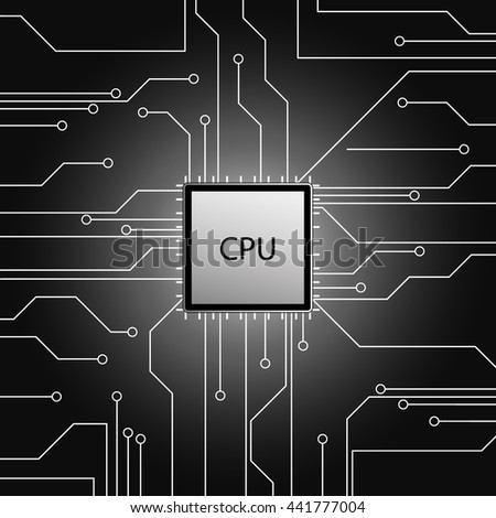 Cpu. Microprocessor. Microchip. Circuit board. Vector illustration. - stock vector