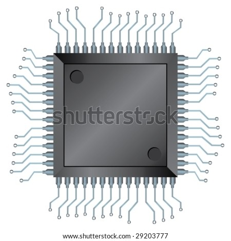 CPU or Electronic Semiconductor Integrated Component, vector illustration - stock vector