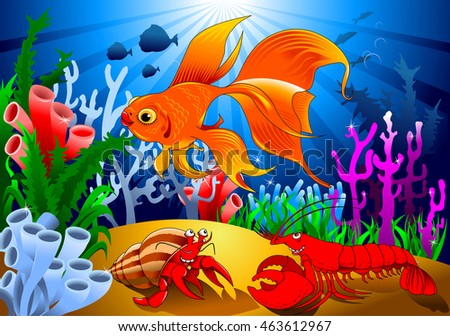 crab and goldfish in a beautiful coral reef, vector