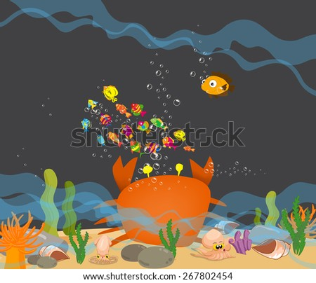 Crab big is under a sea water - stock vector
