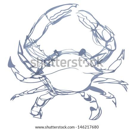 Crab in sketch - stock vector