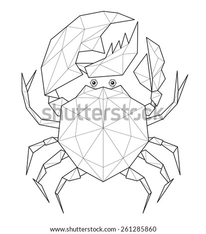 Crab. Low polygon linear vector illustration - stock vector