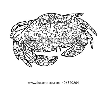 Crab sea animal coloring book for adults vector illustration. Anti-stress coloring for adult. Crab sea animal zentangle style. Black and white lines. Lace pattern - stock vector