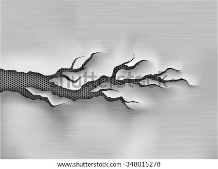 crack in the metal, cracked steel shade and texture  - stock vector