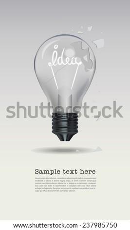 cracked bulb, light bulb cracked. - stock vector