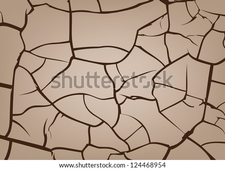 Cracked earth background, vector texture - stock vector