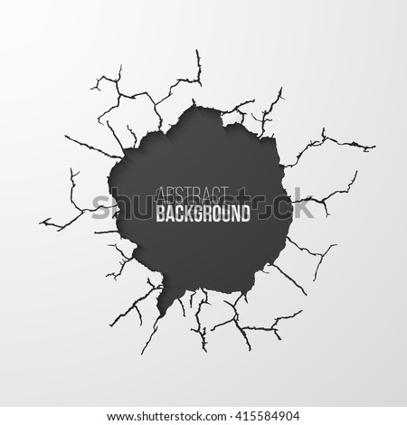 Cracked hole in the wall banner with space for text. Vector illustration