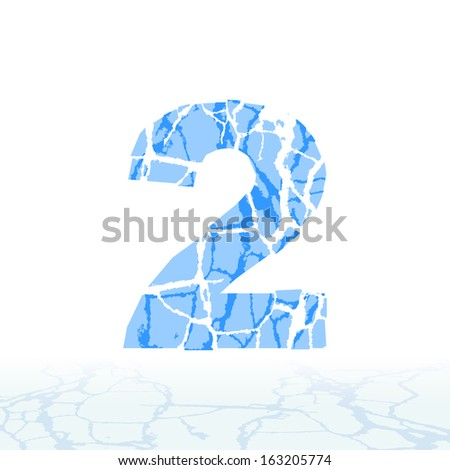 Cracked ice alphabet. Letters, numbers, and symbols of the snow - stock vector