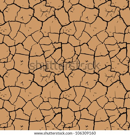 Cracked Mud (repeating pattern) - stock vector