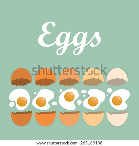 Cracked organic eggs with title on the green background - stock vector