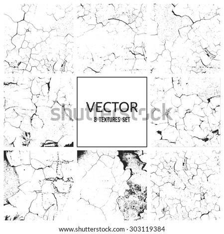 Cracked paint on the wall. Rough grunge vector textures set - stock vector