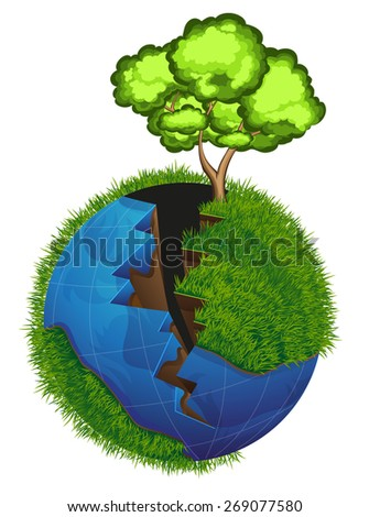 Cracked Planet Earth with water and green grass. Tree on the edge of the crack. - stock vector