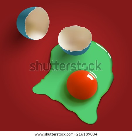 cracked surreal raw egg, shell, yolk and albumen - stock vector