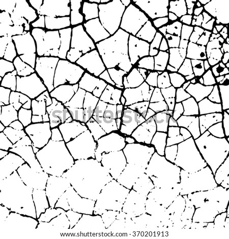 Cracked texture white and black. Grunge sketch effect texture. Crack design for design ground, wall, concrete, paint, earth. Stylish modern background for different print products. Vector illustration